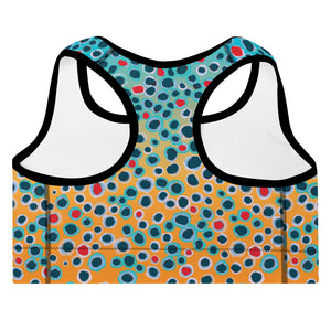 Brown Trout Print Padded Sports Bra