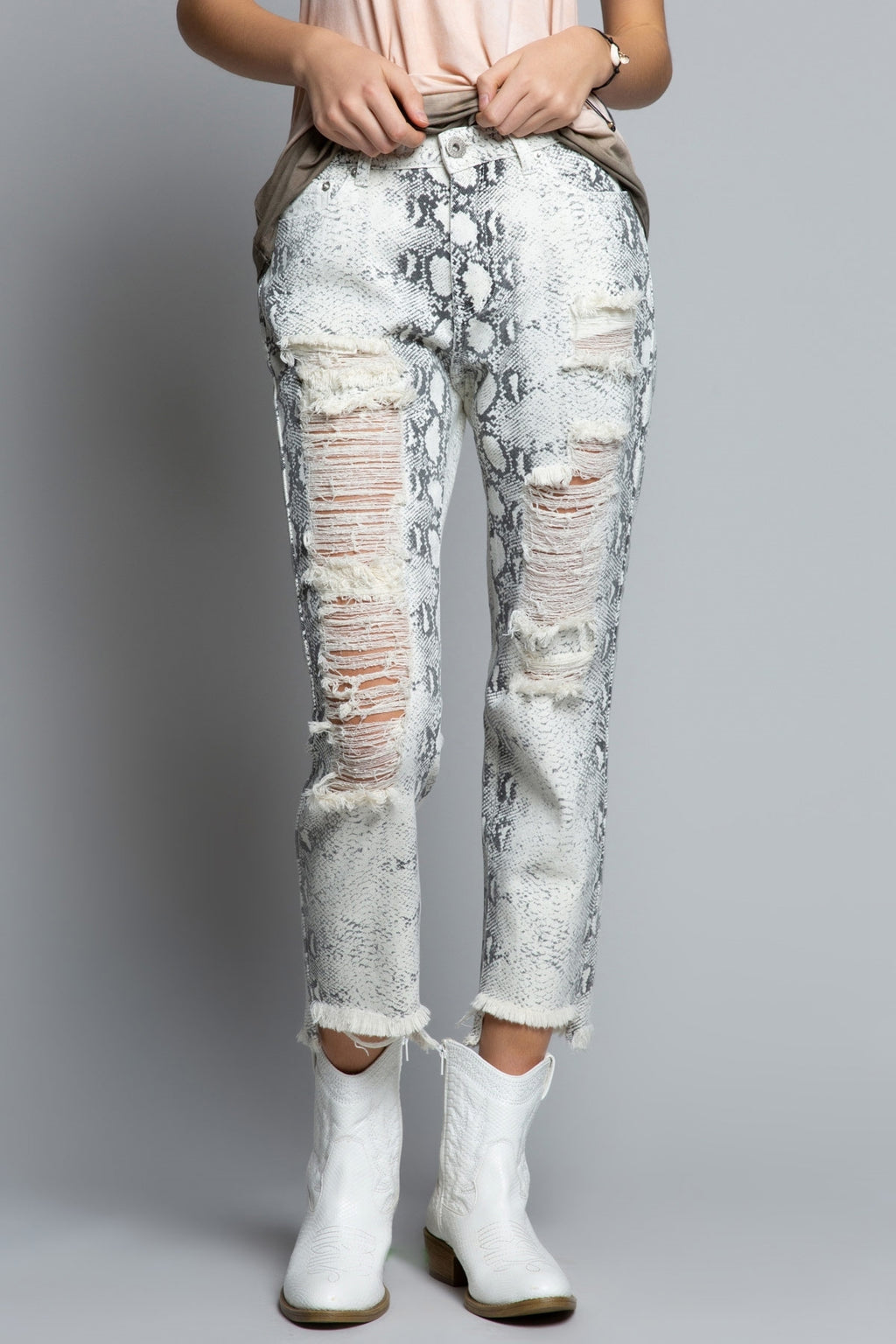 Distressed Snake Print Boyfriends Jeans
