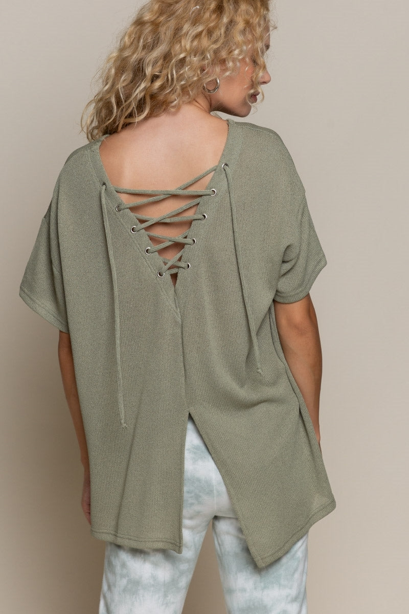 Olive Lace Up Top