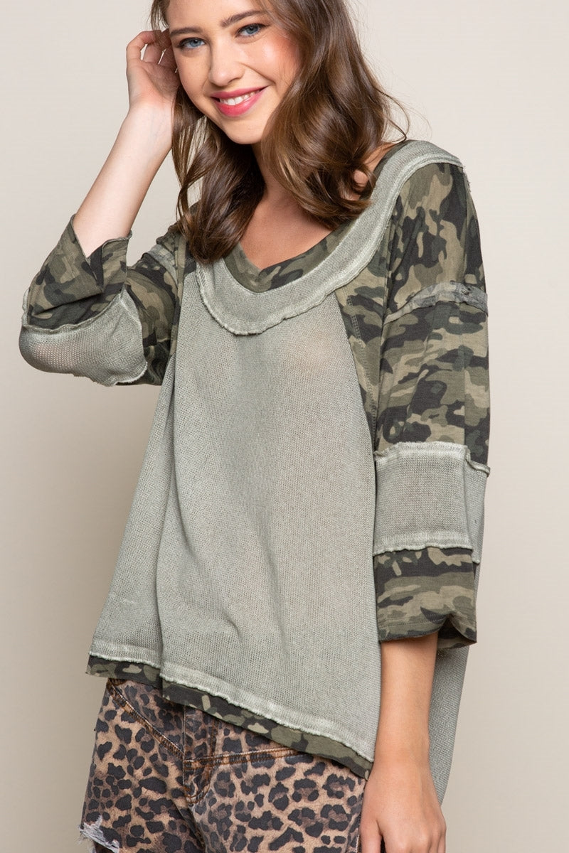 On the Edge Camo Top