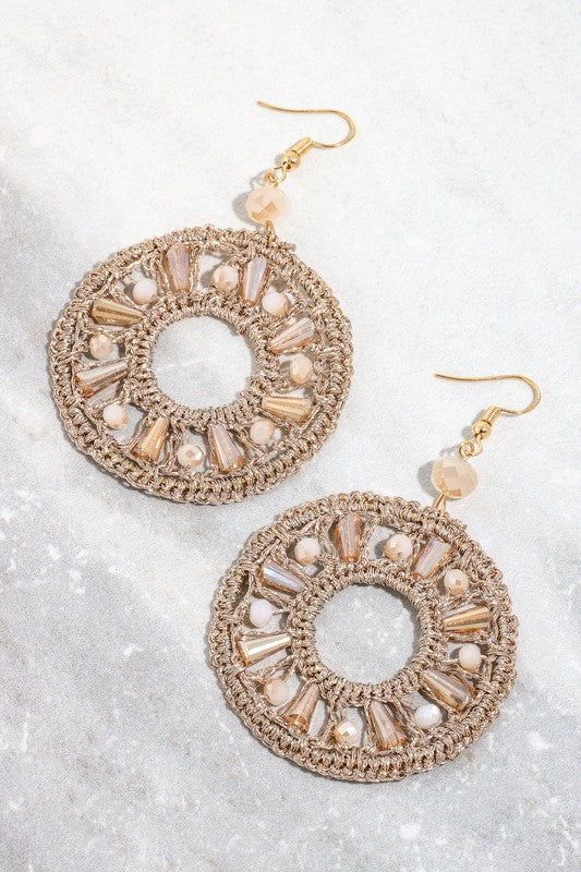 Intricate Flat Hoop Dangle Earrings