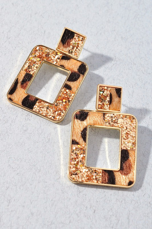 Gold Glitter & Leopard Square Earrings
