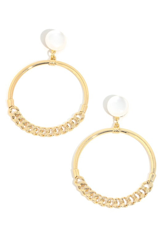 Link Hoop Drop Earrings