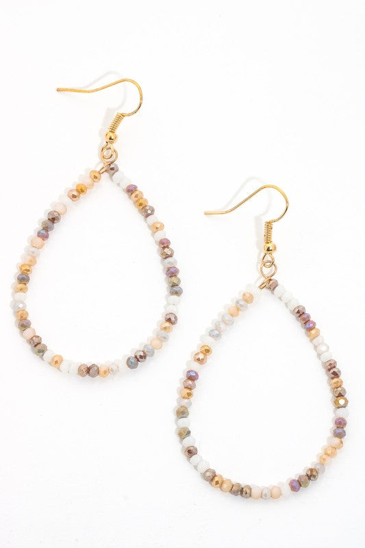 Earth Beaded Teardrop Earrings