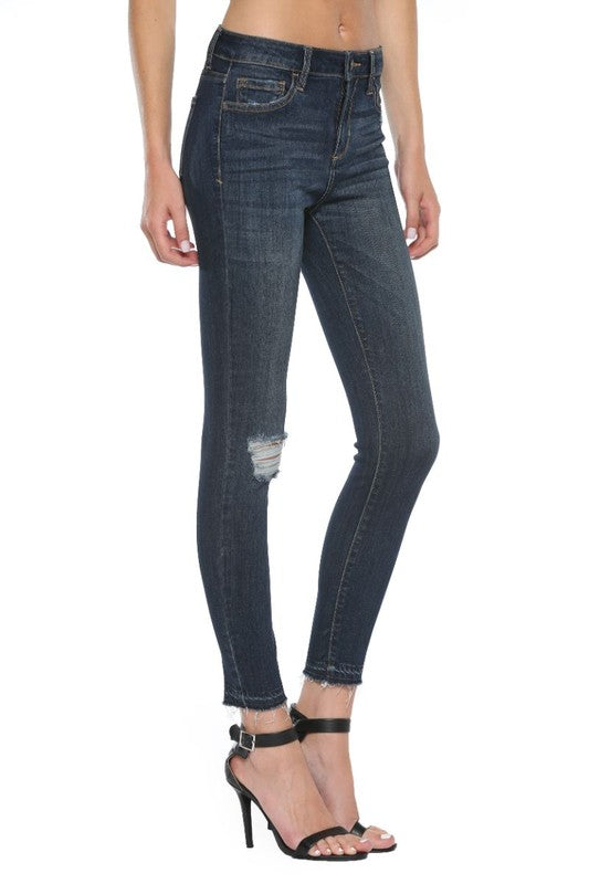 Monica Distressed Skinny Jeans-Cello