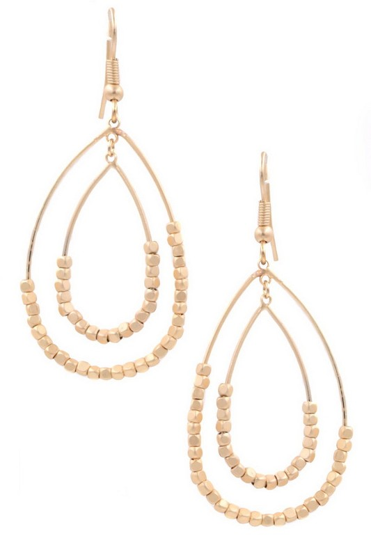 Layered Seed Bead Teardrop Earrings