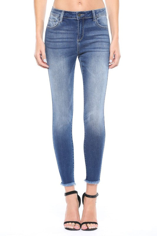 Phoebe Raw Hem Skinny Jeans- Cello