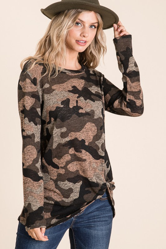 Twisted Hem Camo Tunic Top
