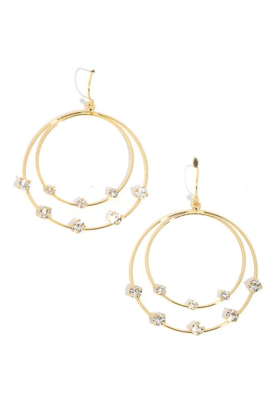 Layered Hoop Gem Charm Drop Earrings