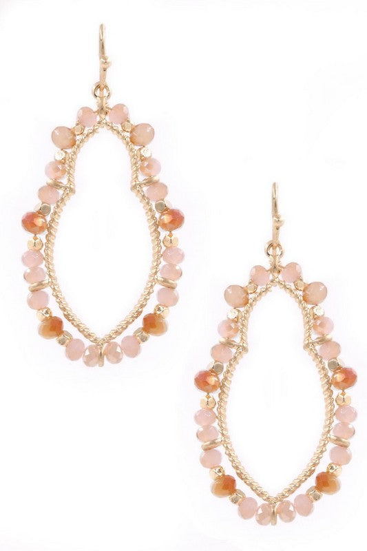 Pink Bead Drop Earrings