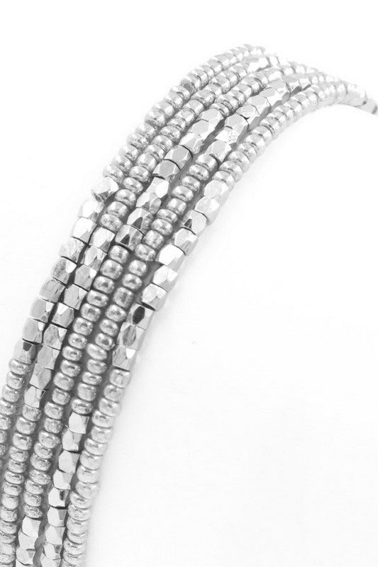 Silver Stretch Seed Bead Bracelet