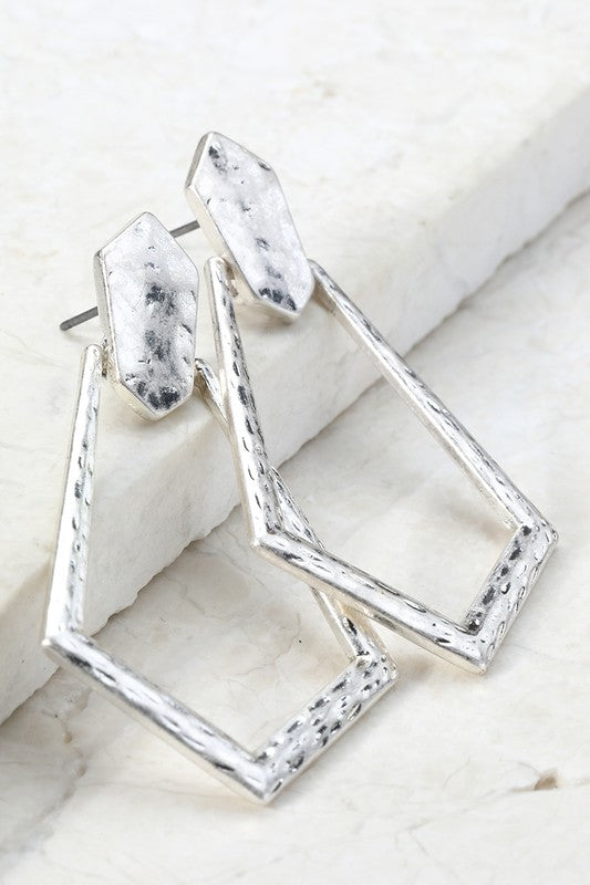 Diamond Shape Metal Earrings