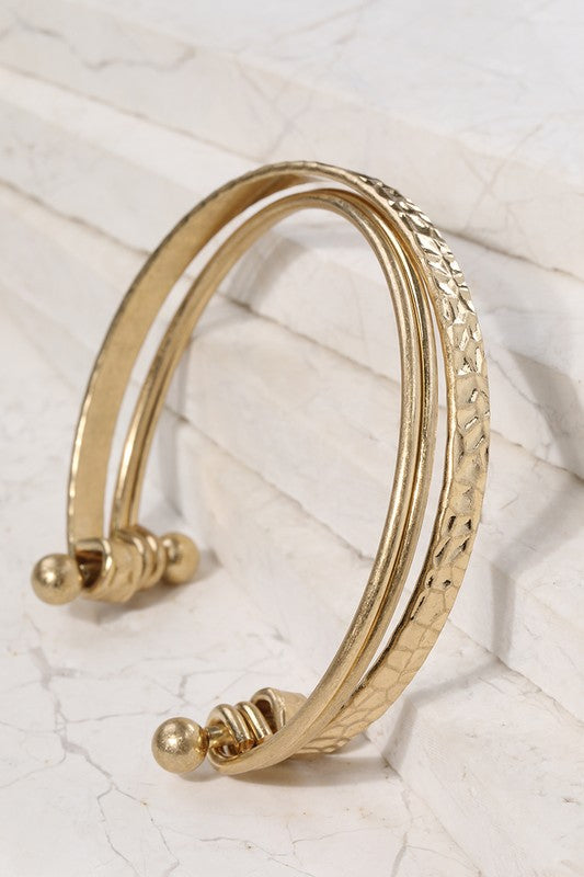 Layered Gold Metal Bracelet