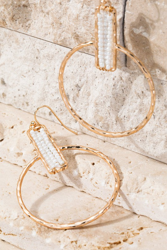 White Bead & Gold Hoops