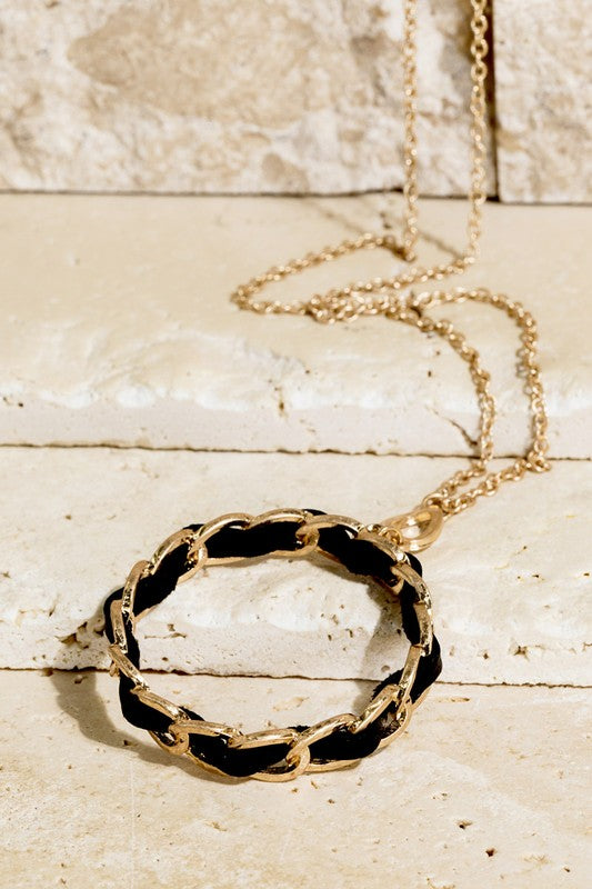 Leather Wrapped Circle Necklace
