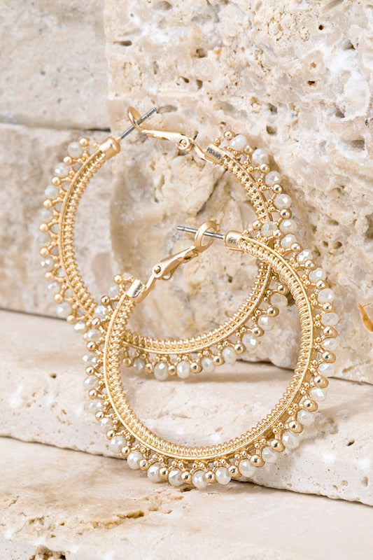 Glass Bead Gold Hoops