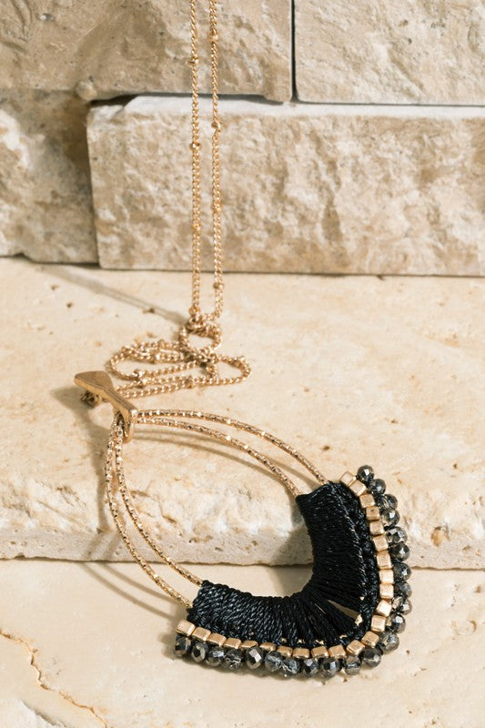 Black Thread Wrapped Necklace