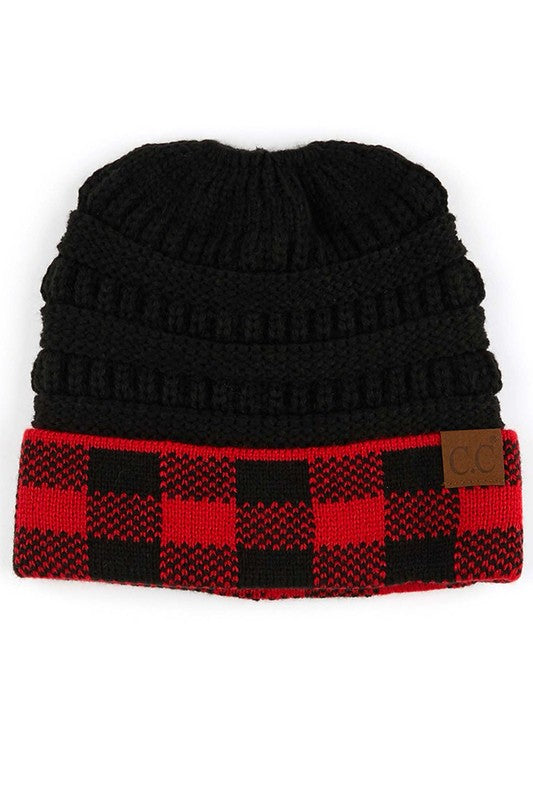 C.C. Buffalo Plaid Messy Bun Beanie