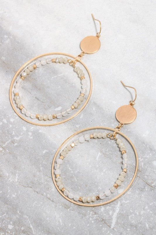 Linked Double Hoop Drop Bead Earrings