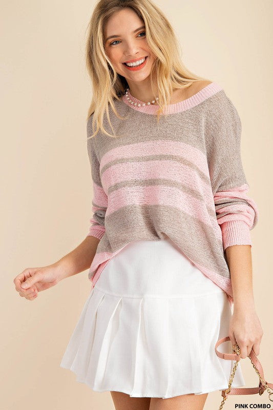 Pink Combo Stripe Sweater