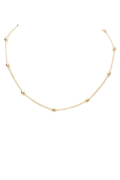 Beaded Choker Necklace- Gold