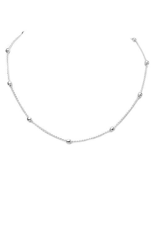 Beaded Choker Necklace- Silver