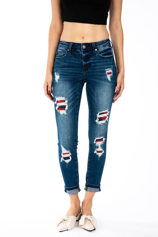 Plaid Patch Skinny Jeans-KanCan