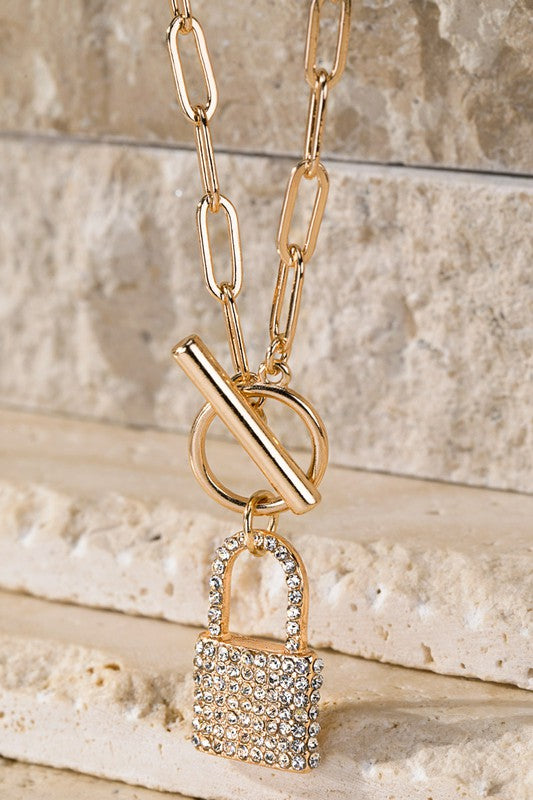 Rhinestone Lock Necklace