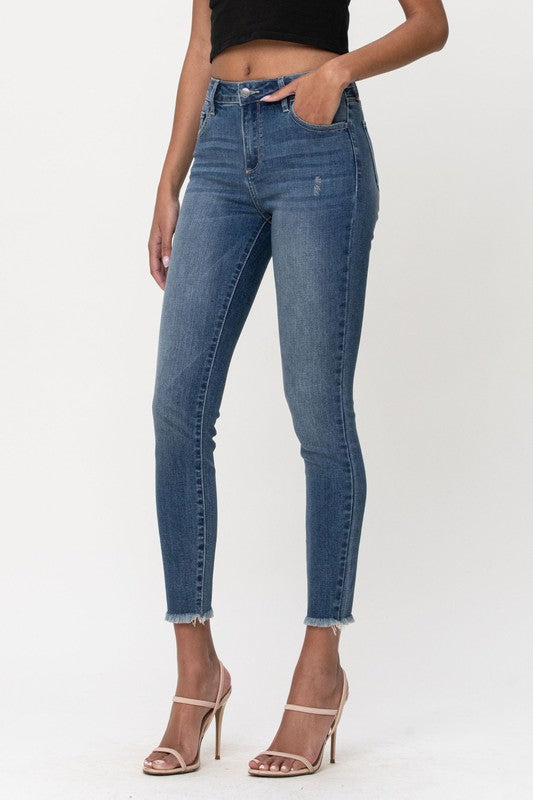 Stacy Raw Hem Skinny Jeans-Cello