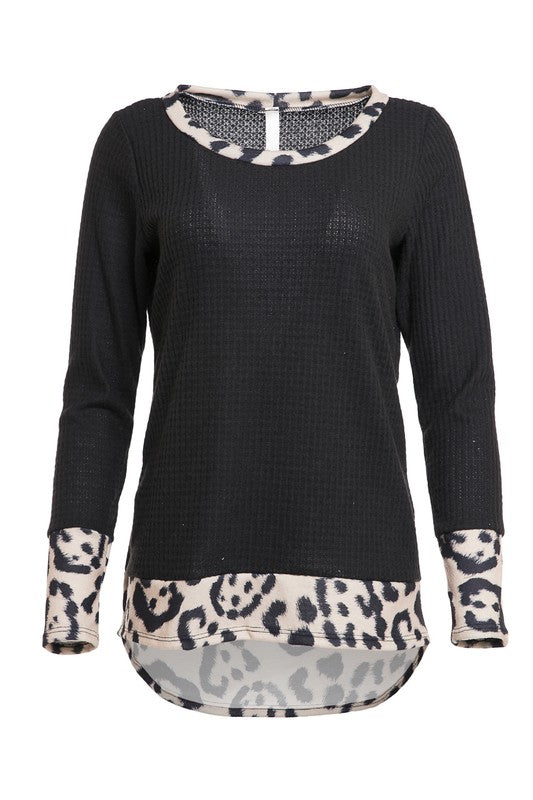 Leopard Detail Thermal Knit Top