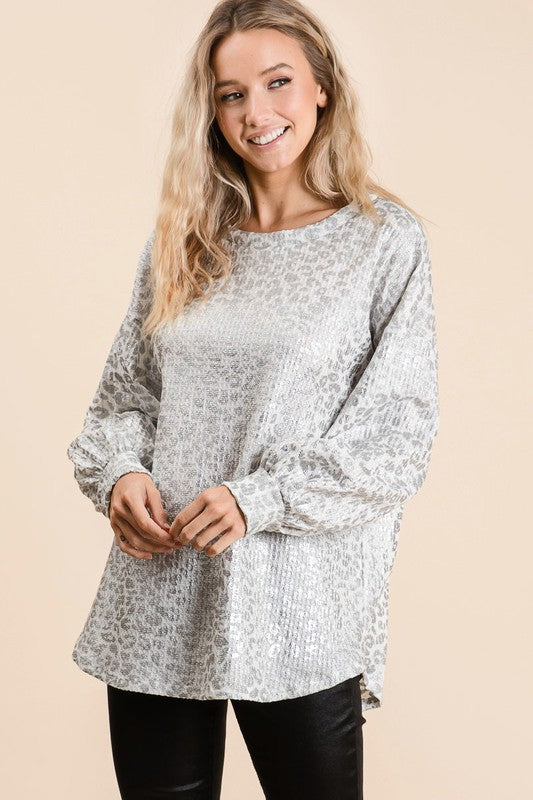 Silver Leopard Print Top