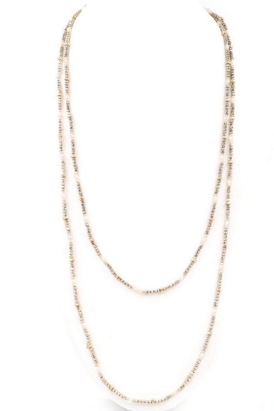 Bead & Pearl Wrap Necklace
