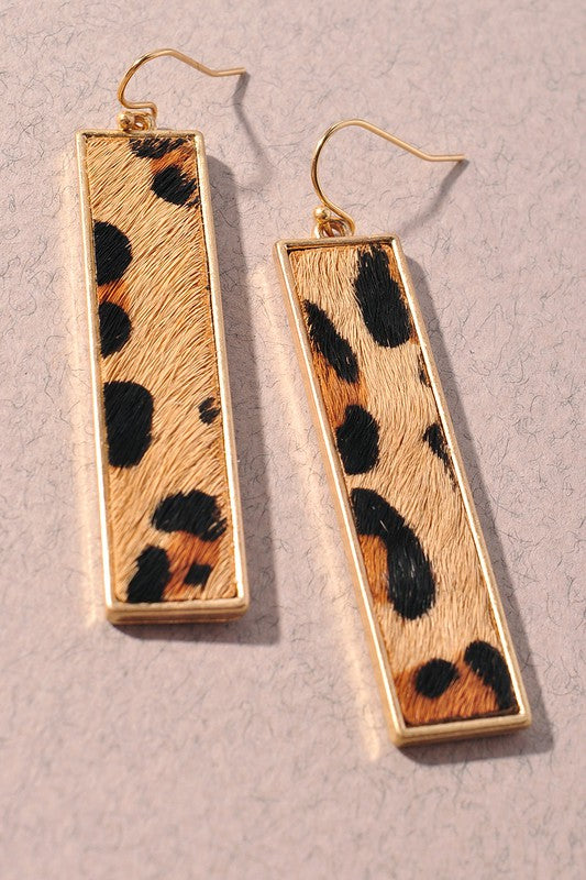 Drop Bar Leopard Earrings