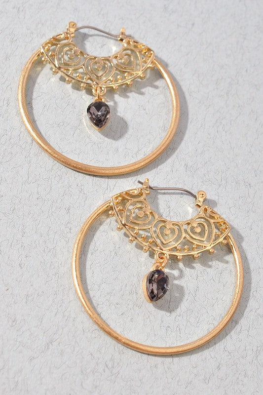 Hoop with Dangle Gem Earrings