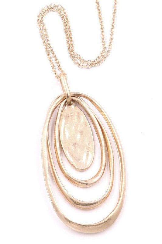 Layered Oval Metal Necklace