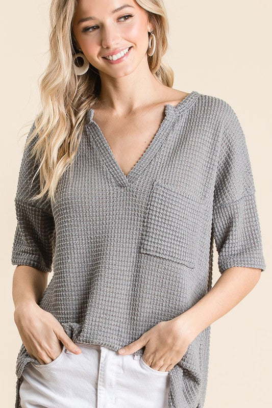 Charcoal Waffle Top