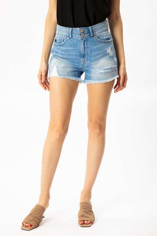 Hazel High Rise Denim Shorts-KanCan