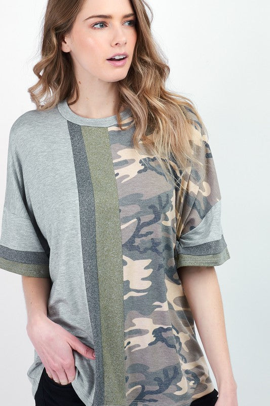 Camo Colorblock Top