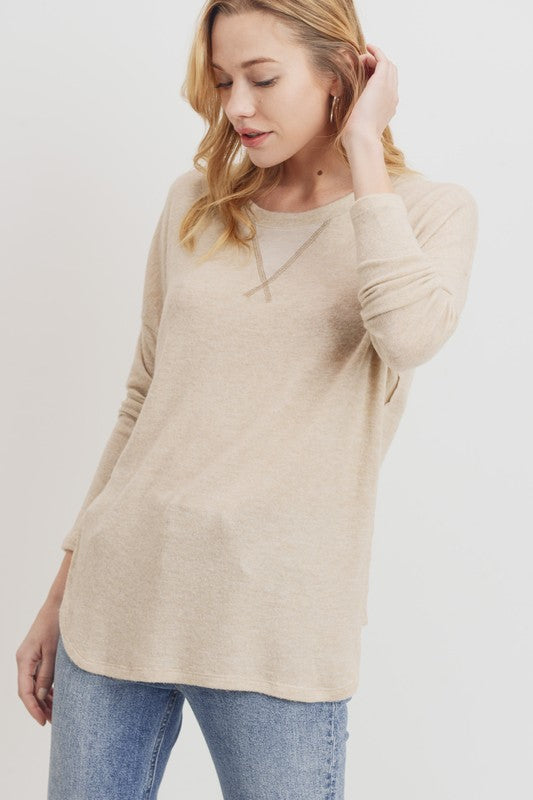 Oatmeal Brushed Knit Top