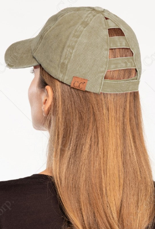 C.C. Distressed Ponytail Cap