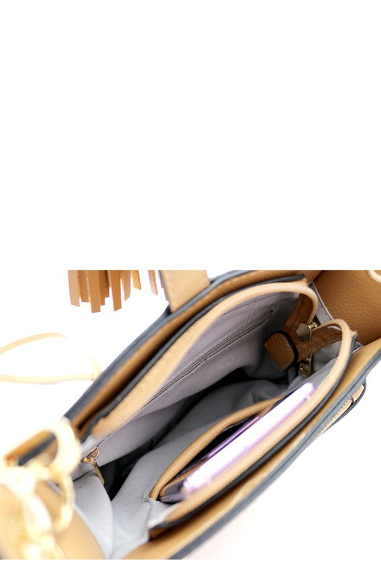 Double Tassel Accent Pocket Bucket Shoulder Bag