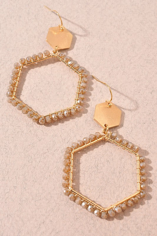 Mocha Hexagon Bead Earrings