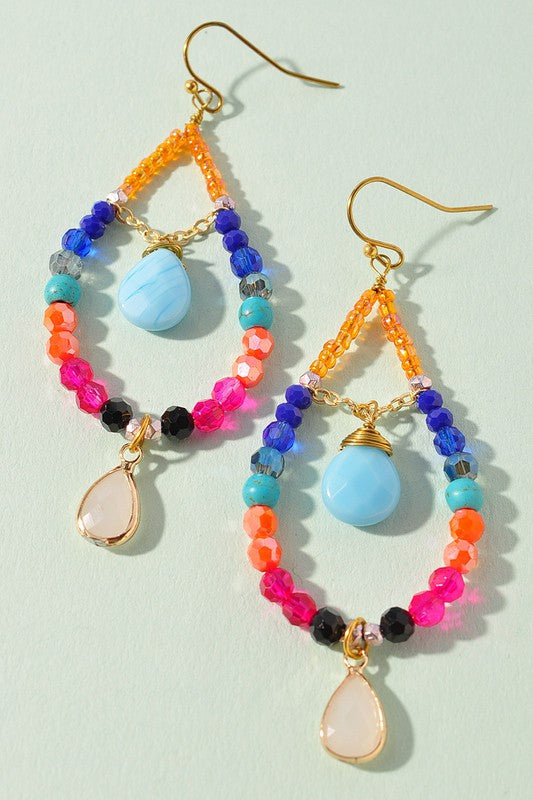 Beaded Charm Teardrop Earrings