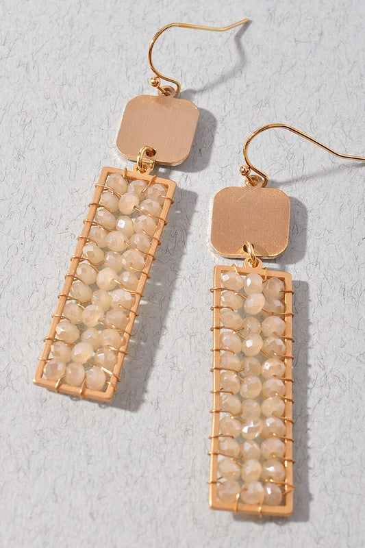 Rectangular Dangle Bead Earrings