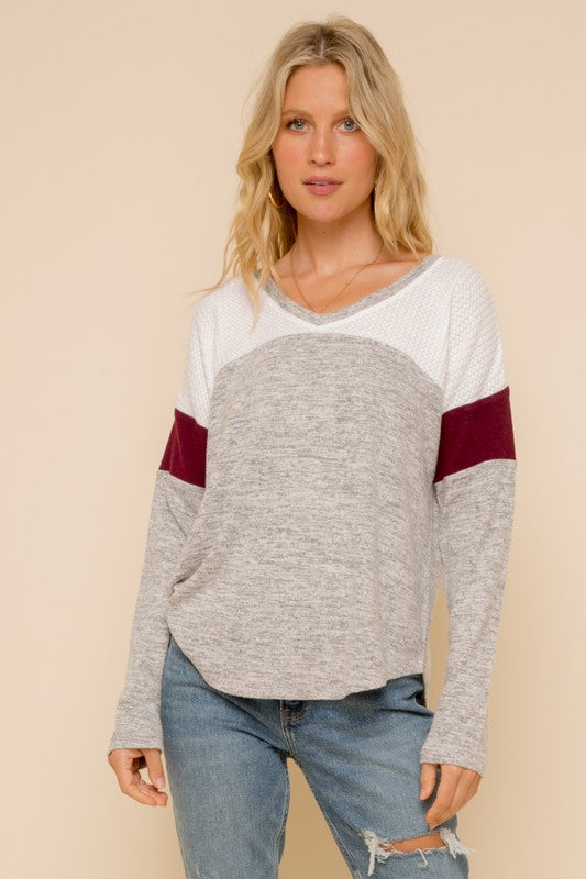 Burgundy Stripe Top