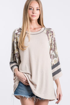 Taupe Camo Color Block Top