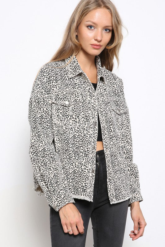 White Leopard Denim Jacket
