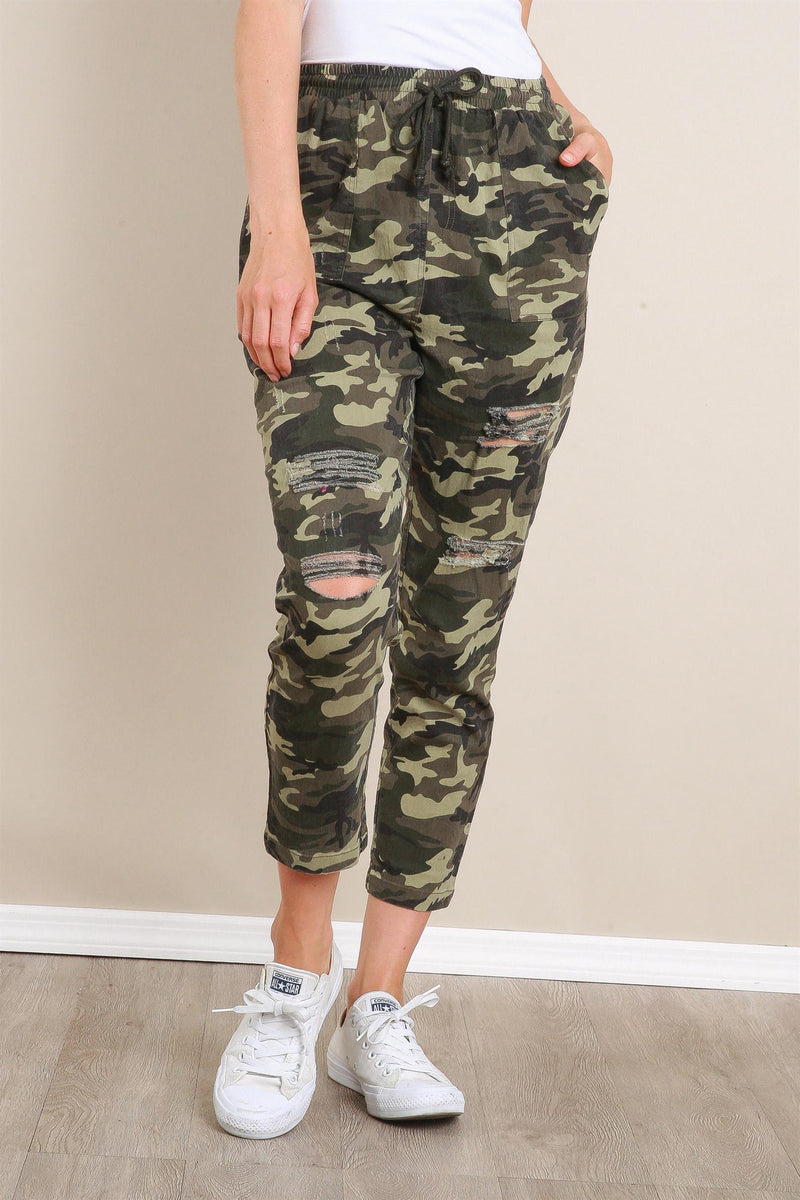 Camo Distressed Pants