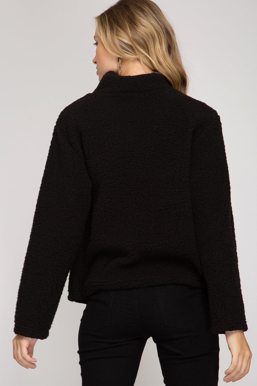 Black Fuzzy Pullover Top