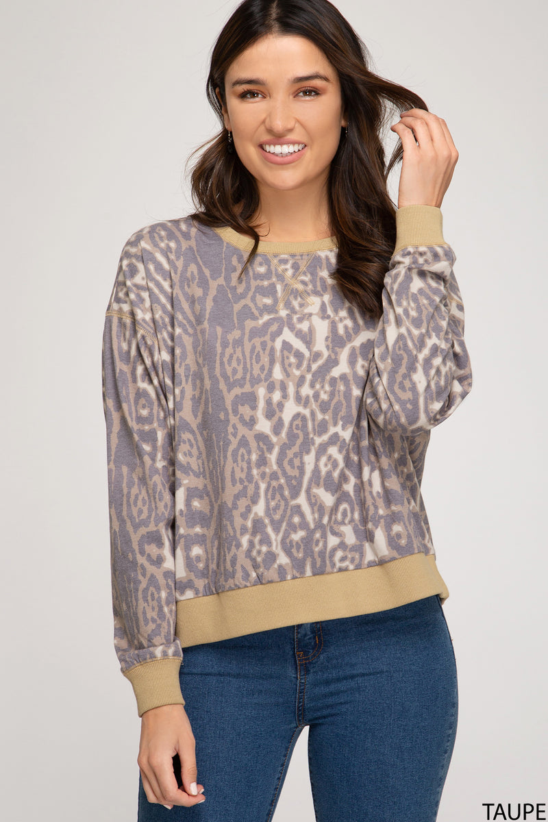 Leopard Pullover Top